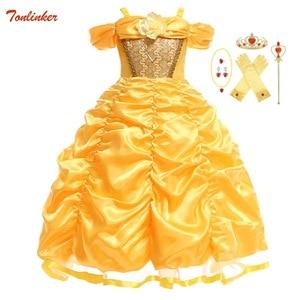 Image 1 - Dziewczyny Belle sukienka księżniczka dziewczyna Off ramię bajka Cosplay impreza z okazji halloween sukienki dziecięca suknia balowa akcesoria do kostiumów