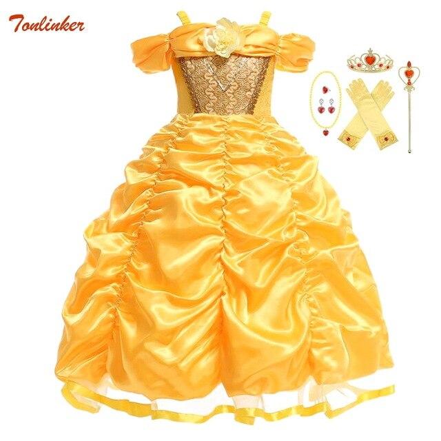 Dziewczyny Belle sukienka księżniczka dziewczyna Off ramię bajka Cosplay impreza z okazji halloween sukienki dziecięca suknia balowa akcesoria do kostiumów