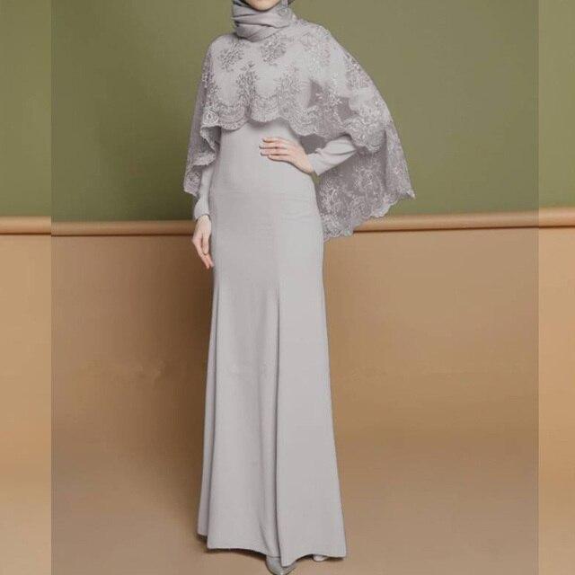 Women Muslim Dress Lace Cape Sleeve Kaftan Plus Size Arab Dress Middle East Ramadan Islamic Party Dress Vestidos Dubai Clothing