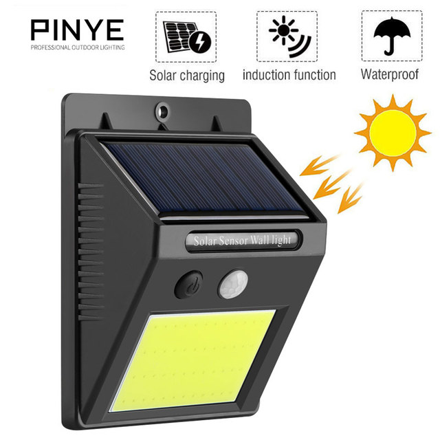 PINYE 4 PCS Solar Outdoor Light 48 LED Lamp Waterproof IP65 Wall Lighting Environmental Protection Garden Light