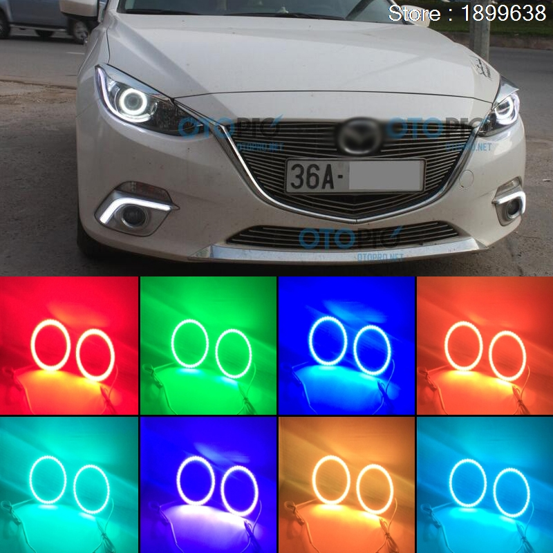 for mazda 3 2010 2011 2012 2013 2014 RGB LED headlight rings halo angel demon eyes with remote controller golf 3 td 2011