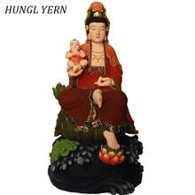 50cm Guan Yin Bodhisattva Buddha statue Lacquerware Clay Customizable Wood Sculpture Handcraft buda statues escultura craft
