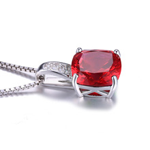 JewelryPalace Cushion 4.9ct Created Red Ruby 925 Sterling Silver Solitaire Pendant For Women Brand New Jewelry Engagement Gift
