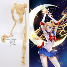 Sailor Moon Tsukino Usagi Long Wig Bun head Blonde Gold Cosplay Wig + Wig Cap 130cm Curly Blonde Double Ponytail стоимость