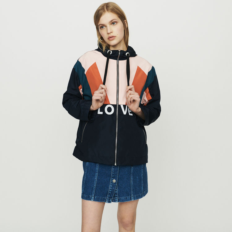 Women Jacket 2019 Spring and Summer Color Zipper Drawstring Elastic Letters Casual Baseball Jacket