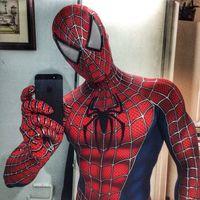 Raimi Spiderman Costume Lycra Spandex 3D Print Halloween Spiderman Cosplay Bodysuit Superhero Costume Zentai Suit