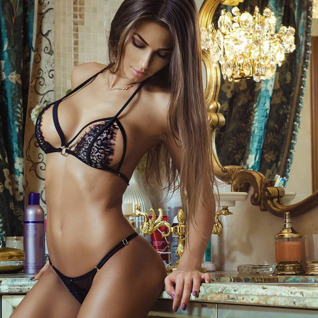 79266b708f5 Hot Black Lace Hot Latex Erotic Sexy Lingerie Hot Erotic Underwear Set Open  Cup Bra Two 1 Peice Set Crop Tops