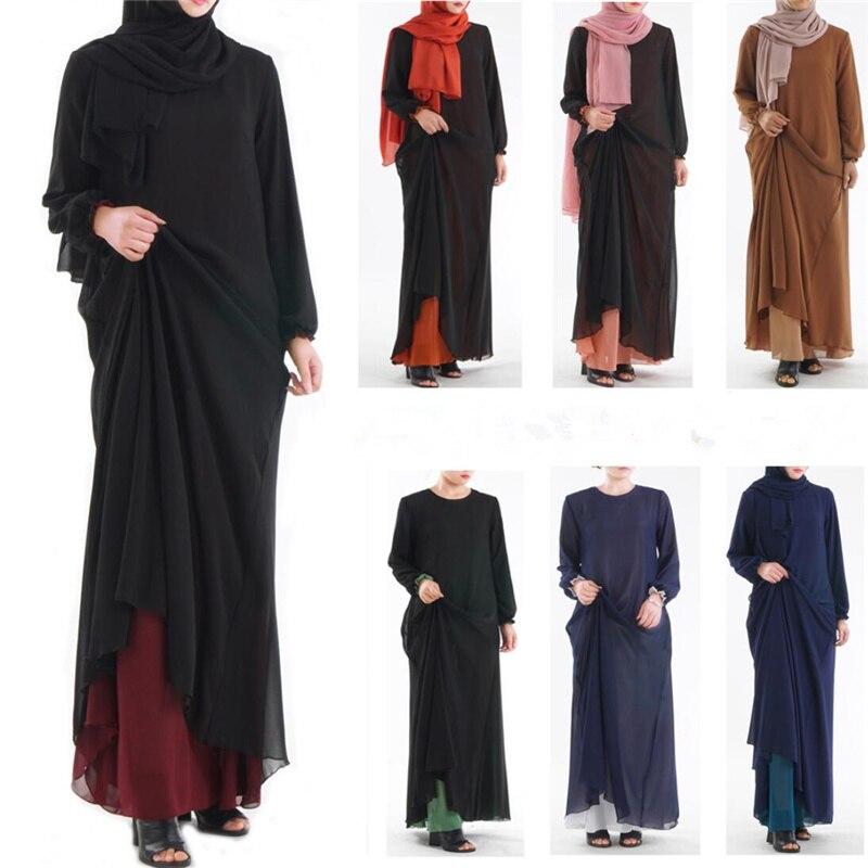 2019 Solid Islamic Clothing Plain Hijab Evening Dresses Moroccan Kaftan Turkish Robe Dubai Abaya Turkey Muslim Women Dress D730-in Islamic Clothing from Novelty & Special Use    1