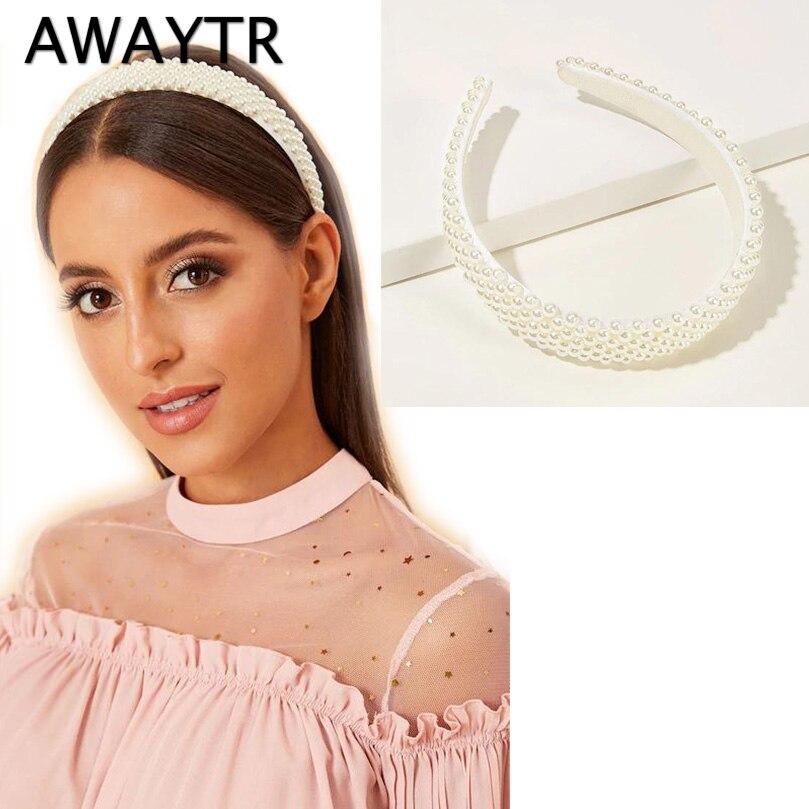 AWAYTR New Fashion Pearl Design Headband For Women Ladies White Hairband Girls Headwear Headdress Wedding Hair Accessories