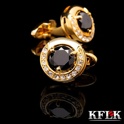 KFLK Luxury 2018 New HOT shirt cufflinks for mens Brand cuff buttons Gold cuff link High Quality Black abotoadura Jewelry