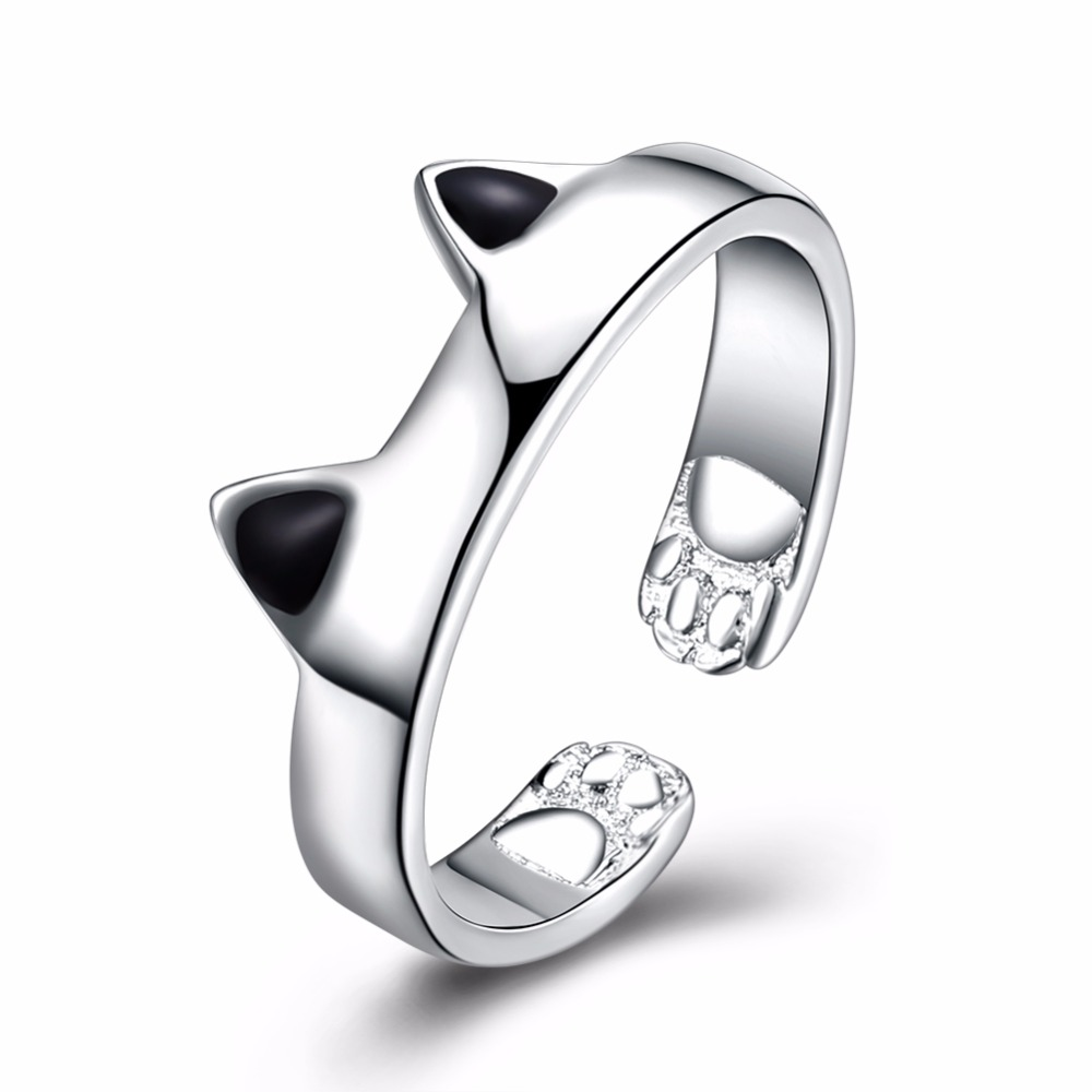 Standard sterling silver jewelry creative personality cute cat ear opening ring girl swe ...