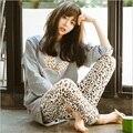 Nova Primavera Outono Mulheres Pijama Define O Pescoço Mulheres Manga Comprida Pijamas Pijamas Meninas Desgaste Casa Roupas Para A Mulher Camisola quente