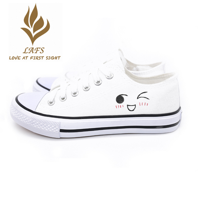2017 Spring Summer Cartoon Cute Hand Painted Beautiful Canvas Women Shoes  Beautiful Low Top