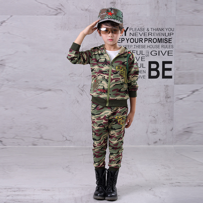 57d199350 Boys Camouflage Sports Suits Hooded Children Clothing Sets Autumn Spring  Kids Tracksuits Teen Boy Sportswear 5 6 8 10 12 14Years-in Clothing Sets  from ...
