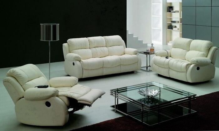 Free Shipping Modern Design Luxury 1+2+3 Modern Reclining Sofas, Chair,  Love Seat Set Genuine Leather Recliner Sofa LF001