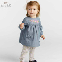 DBA7999 dave bella autumn baby girl clothes children high quality clothing sets kids fashion long sleeve suits