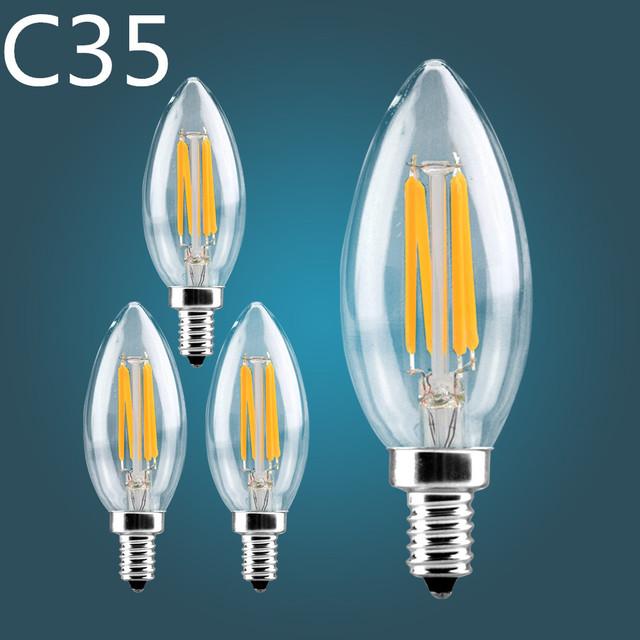 Dimmable LED Filament Candle Light Bulb E14 E12 110V 120V 2W 4W 6W C35 C35L Edison Bulb Retro Antique Vintage  Lampada Led Lamp