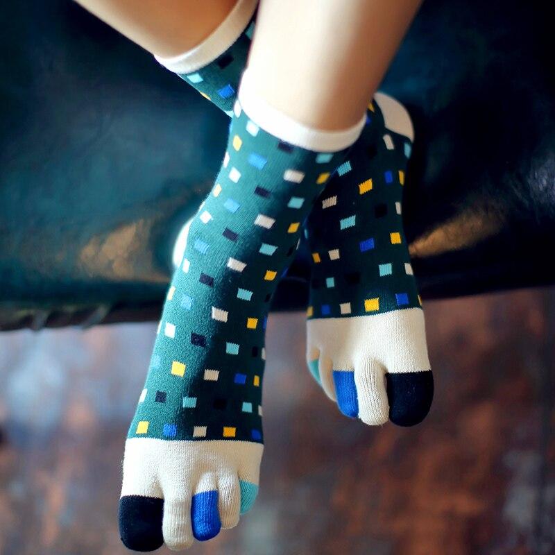 3 Pairs Five Finger Socks Cotton Men Toe Socks Colorful Crew Tube Sandal Socks For Male