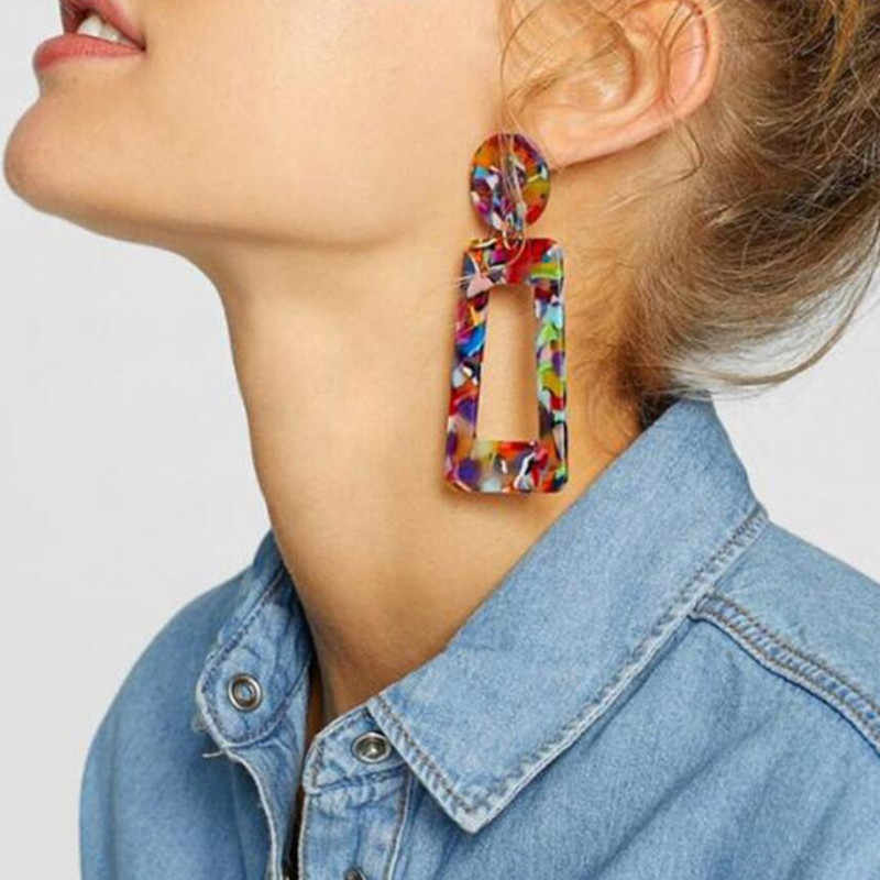 Fashion Big Acetic Drop Earrings For Women 2019 Resin Large Square Earrings Trendy Geometric Acrylic Jewelry Accessories
