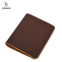ZZNICK Wallet men crazy horse leather men wallets 100% genui