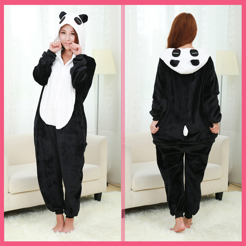 Christmas Flannel Pajamas Women Panda Pijama Cartoon Animal Adult Panda Costume Sleepwear Cute Top Quality Pigiama Donna