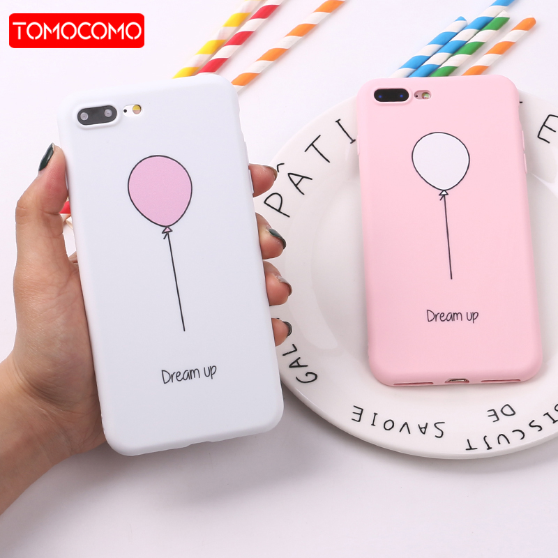 TOMOCOMO For 8 8Plus X 7 7Plus Cute Balloon Girl Pink Dream Soft TPU Silicone Matte Case ...