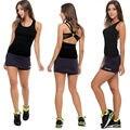 2016 nueva marca de moda de la mujer Sexy Tops Deportivos Espalda Cruzada Tanque Superior de Fitness ropa deportiva 3 Colores tanques y camis