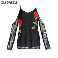 SILVERCELL Women Long Sleeve Embroidery Rose Lace Tops Tee Shirt Sexy Off Shoulder Tops T Shirt V-Neck Plus Size S-XL