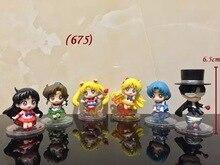 Anime Sailor Moon 6PCS SET Tsukino Usagi Tuxedo Mask Sailor Venus Mercury Mars Jupiter PVC font
