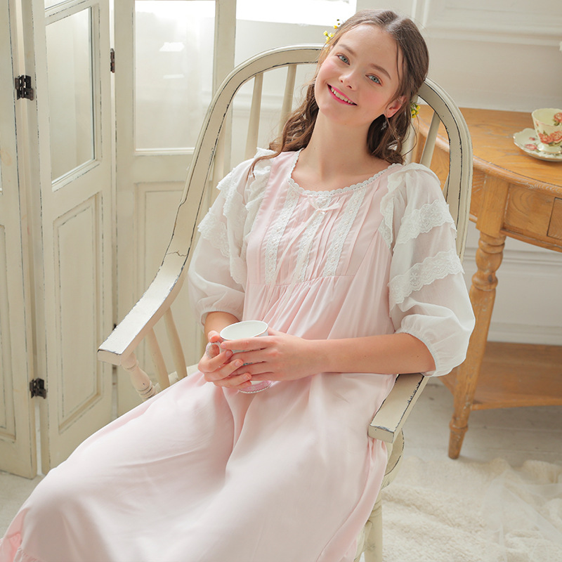 Victorian   Nightgowns     Sleepshirts   Autumn Women Vintage Sleepwear Pink Lace Cotton Home Wear Sleeping Dress Night Clothes