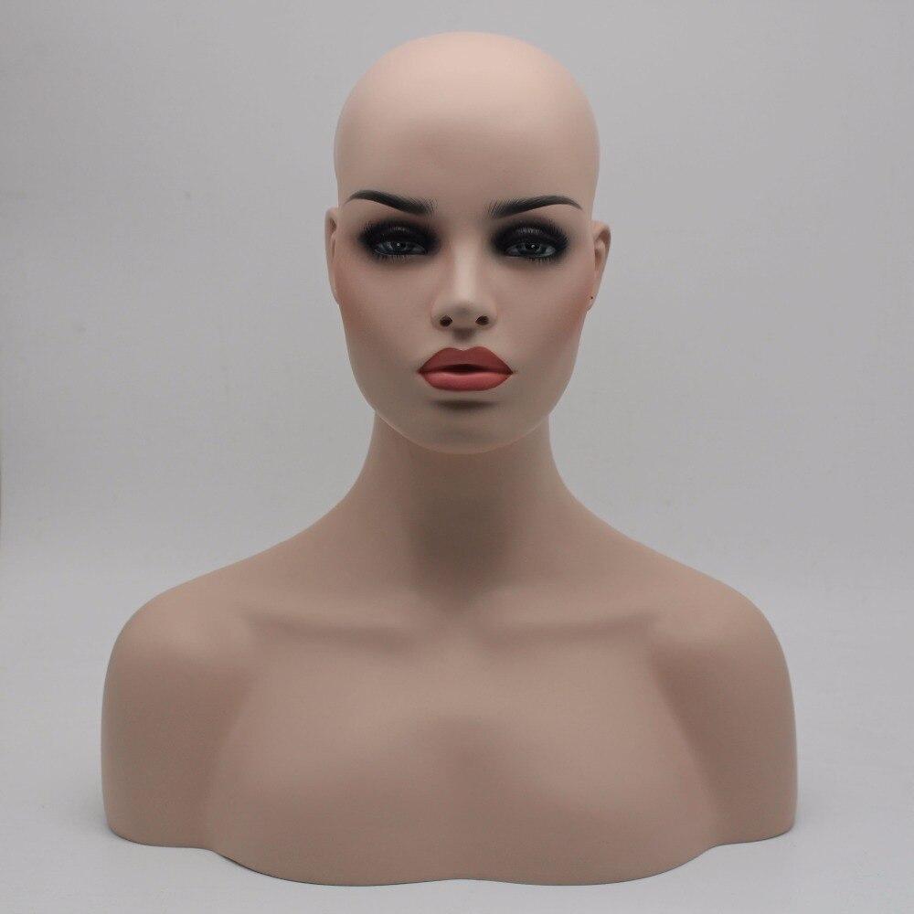 Teint Femelle En Fiber de verre Mannequin Buste Pour Perruques