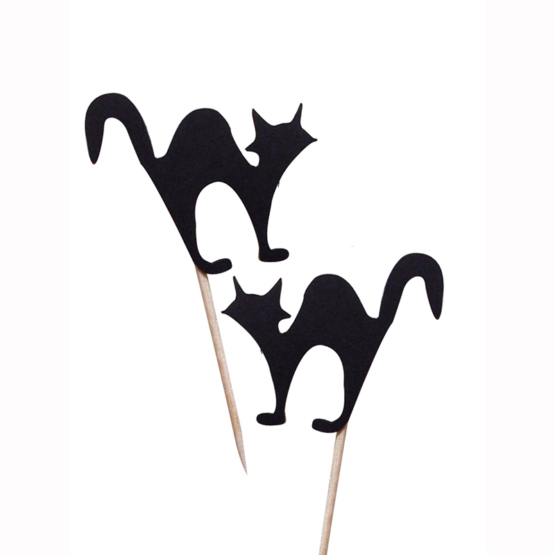 Halloween Cupcake <font><b>Toppers</b></font> <font><b>Cats</b></font> Party Decor Halloween Decor <font><b>Black</b></font> Spooky <font><b>Cake</b></font> Decoration Party Supplies image