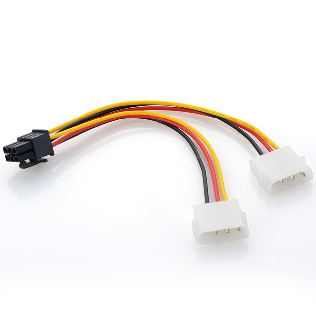 8.28 SALE! Double Big 4pin to 6pin power adapter cable PCI-E Graphics card External power cord Computer Cables & Connectors
