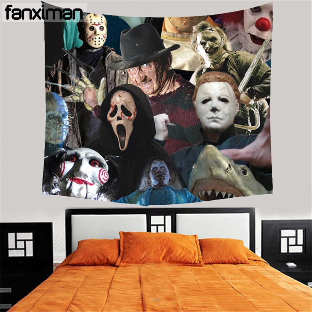 Customized Home Decorative Wall Hanging Tapestry Horror Movie Friday Jason Freddy Tapestries Blankets Table Cloth 150*130 CM