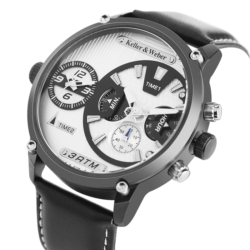Keller & Weber Men's Big Size Unique Dual Display Quartz Wristwatches Genuine Leather Aviator Dress Watch Male Reloj Hombre 2018