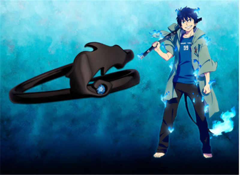 Image 3 - Cartoon Anime Ao no Exorcist Blue Exorcist Okumura Rin Demon Tail  925 Sterling Silver Ring New S925 Rings Manga Cos Props GiftRings   -