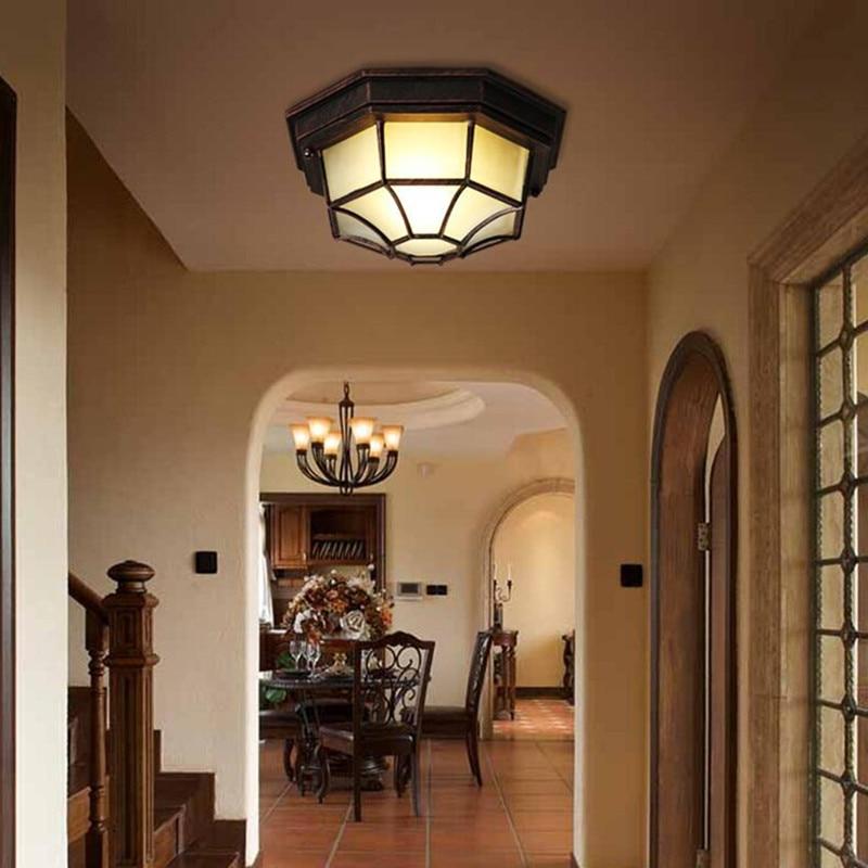 retro waterproof ceiling lights e27 outdoor balcony courtyard lamp bathroom bedroom aisle lights octagonal light indoor - Outdoor Ceiling Lights