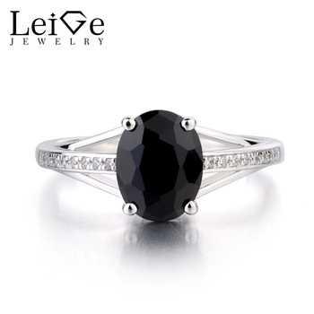 Leige Jewelry Real Natural Black Spinel Ring Oval Cut Gemstone Engagement Anniversary Ring 925 Sterling Silver Ring Women's Ring