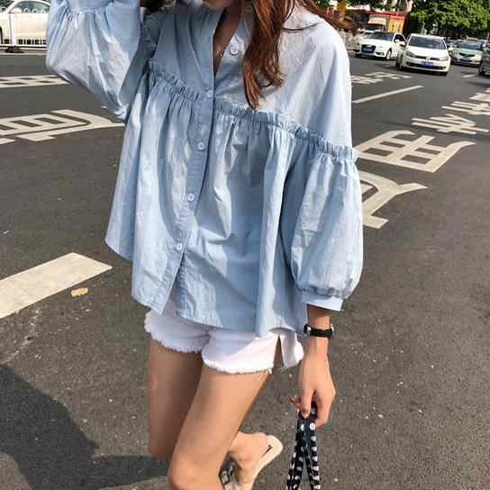 Womens Solid Lichtblauw Zoete Shirt Meisjes Nieuwe Zomer Tops Loose Casual Lantaarn Mouwen Single-breasted Blouse Blusas AE612