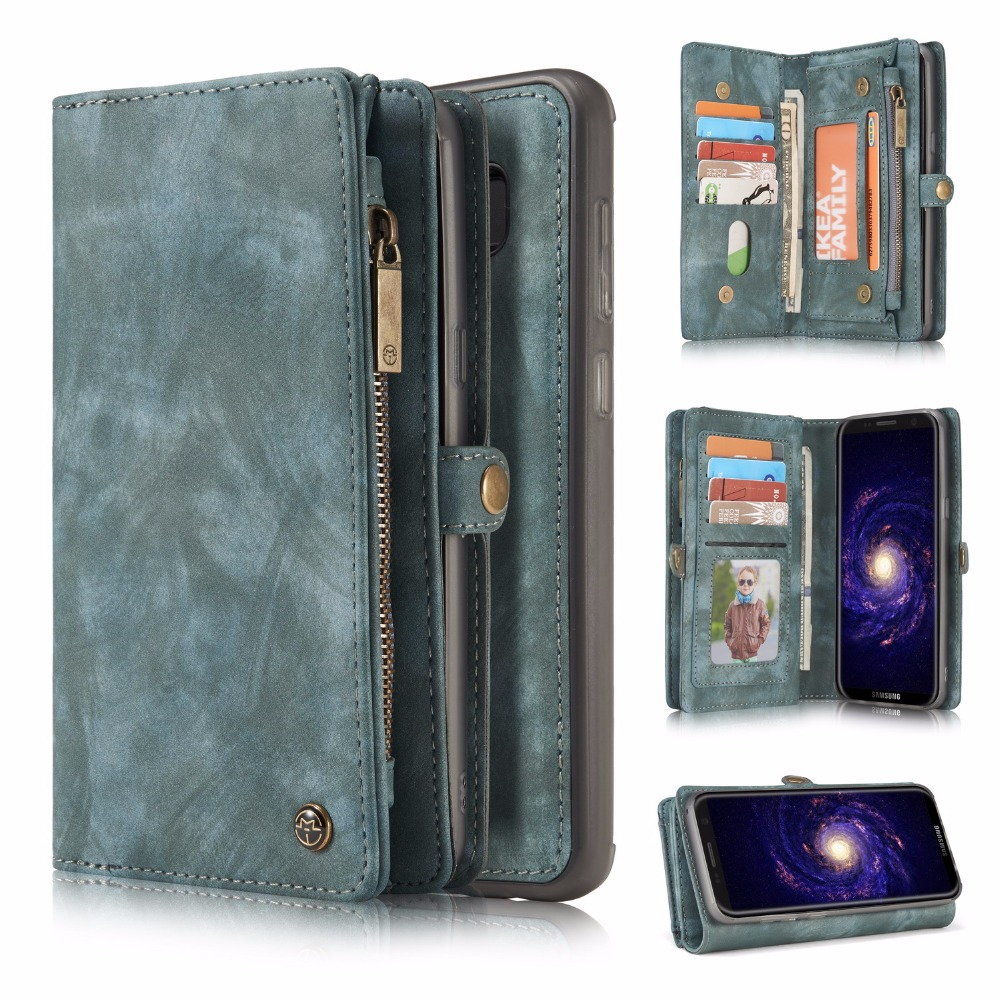 For Coque Galaxy S8 Plus Cases Premium Retro Zipper Wallet Leather Case Folio Detachable Magnetic Cover