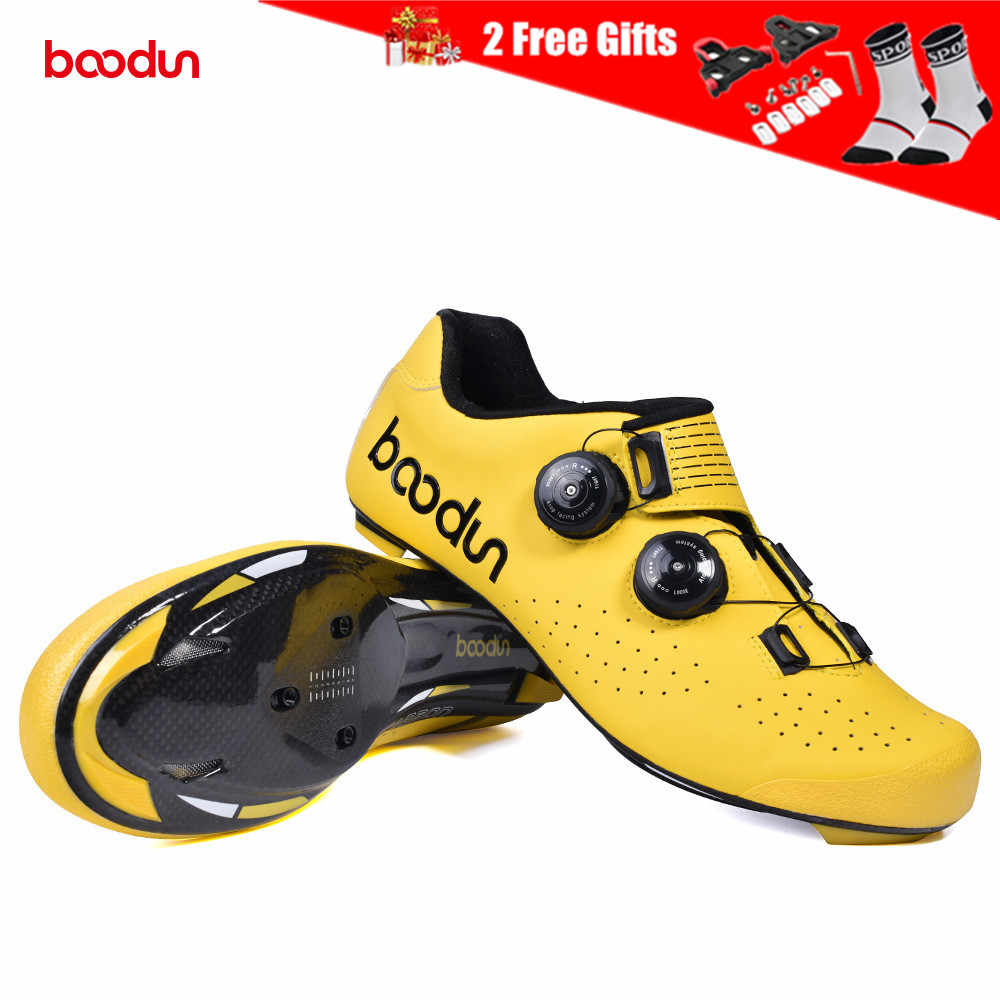 2019 New Ultralight Road Carbon Fiber Sole Road Bike Shoes Cycling Shoes Racing Bicycle Shoes with Double Rotating Buckles