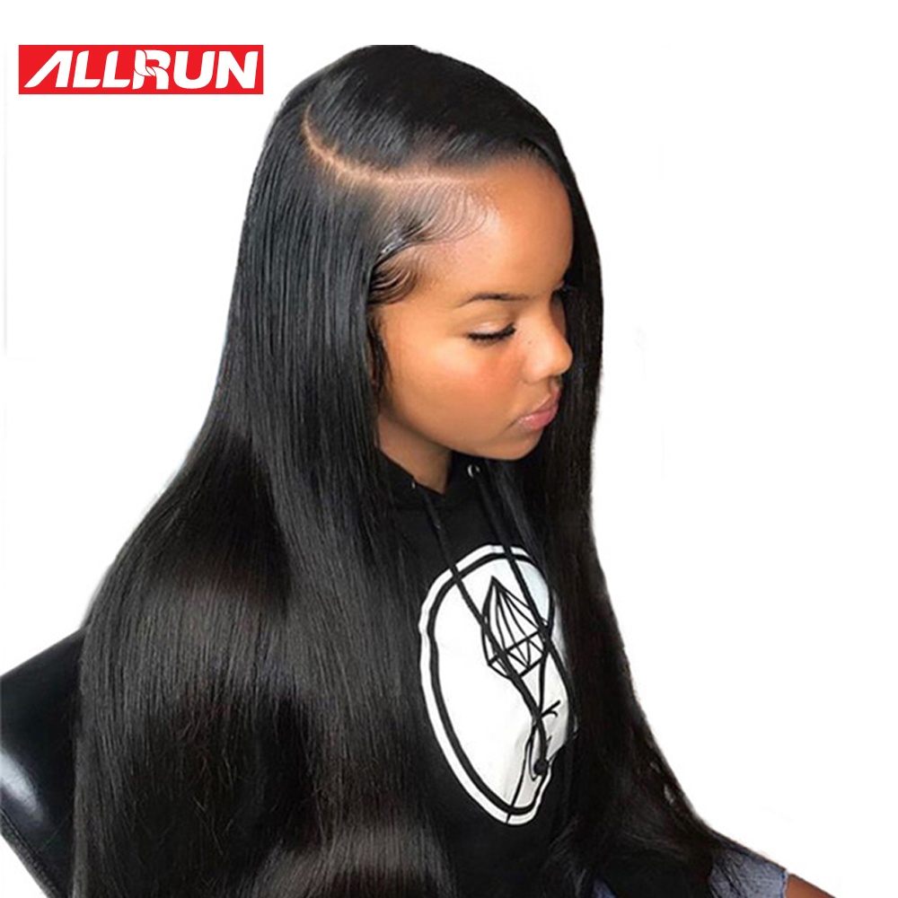 ALLRUN 1B # черный Цвет-Реми перуанские прямые короткие человеческих волос Боб парики 6 дюймов Синтетические волосы на кружеве человеческих вол...