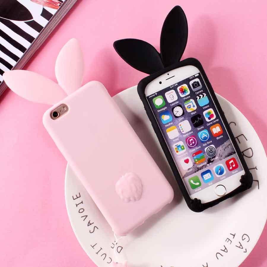 huge selection of 649e8 2be46 US $5.21 |Lovely Cute Rabbit Ear Phone Bag Case For iPhone 6 TPU Silicone  Phone Case For iPhone 7 7plus 6s 6s plus Back Cover Coque-in Phone Pouch ...