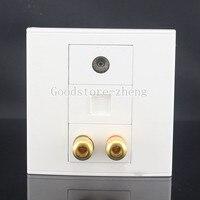 1 Speaker 2 Binding Banana Post Jack TV RJ45 Cat5e LAN Audio Wall Face Plate