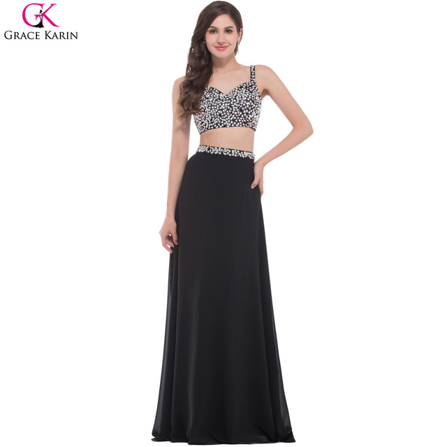 Grace karin sexy black zweiteiler prom dress designer perlen luxus ...