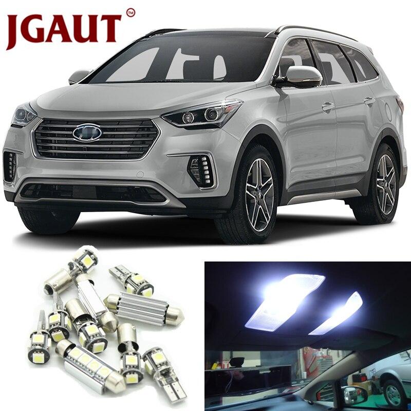 JGAUT White Car LED Light Bulbs Interior Package Kit For 2007 2012 Hyundai Santa Fe Map