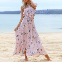 Lily Rosie Girl Off Shoulder Long Summer Women Dress Sexy Casual Pink Floral Print Ruffles Dresses