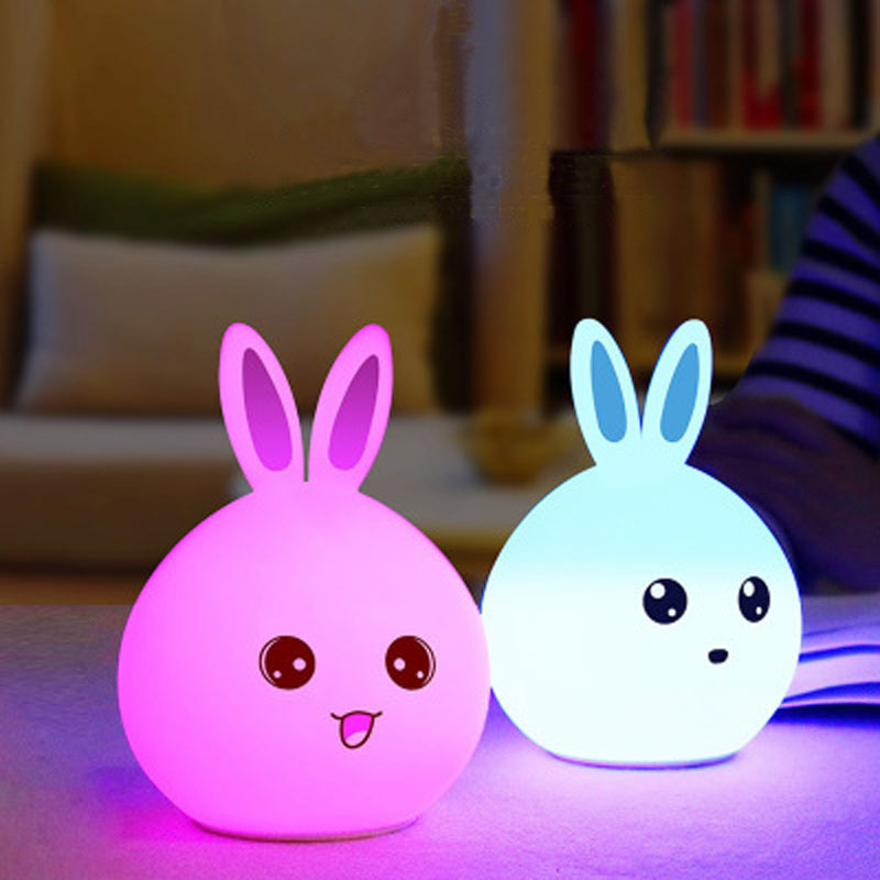 YIMIA Cute Silicone Bunny Sensor Baby LED Night Lights Porch Wall Lamp for Bedroom Hallway Cabinet Stairwells Kitchen Closet yimia creative 4 colors remote control led night lights hourglass night light wall lamp chandelier lights children baby s gifts