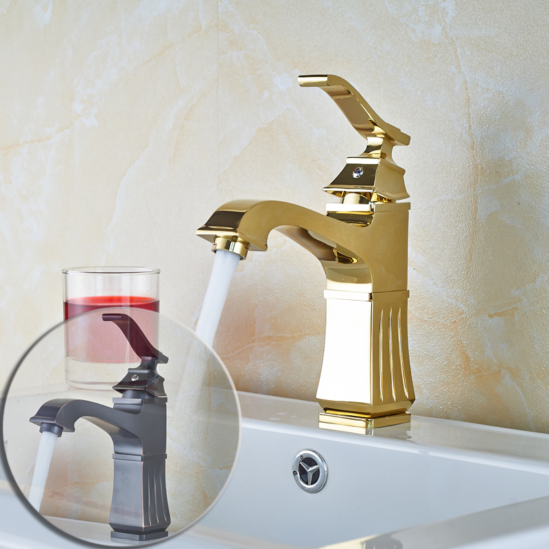 Luxury Mixer Water Bathroom Vessel Sink Faucet Single Handle Basin Mixers Deck Mounted Oil Rubbed Bronze &Gold