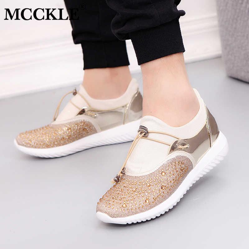 5e565b7853fb MCCKLE Plus Size Women Casual Flat Slip On Sneakers Autumn Female Crystal  Bling Shallow Platform Vulcanized